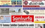 16 Temmuz Şanlıurfa Gazete Manşetleri