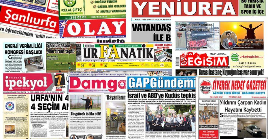 12 Mayıs Şanlıurfa Gazete Manşetleri
