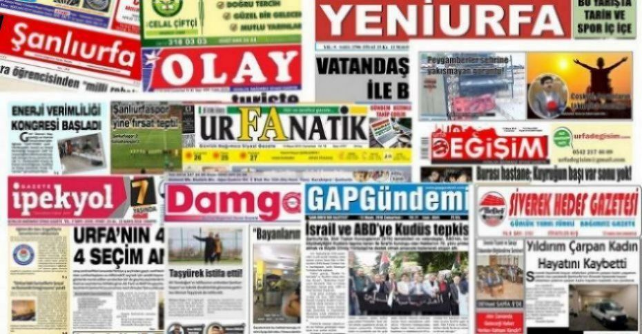 15 Eylül Şanlıurfa Gazete Manşetleri - 2018