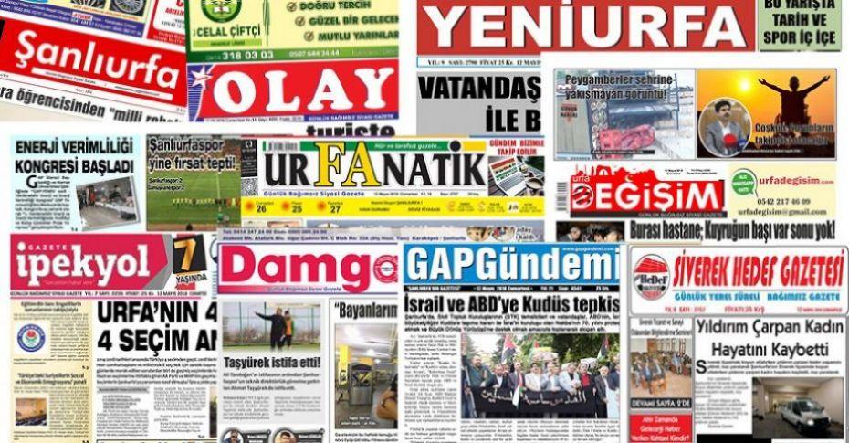 16 Mayıs Şanlıurfa Gazete Manşetleri