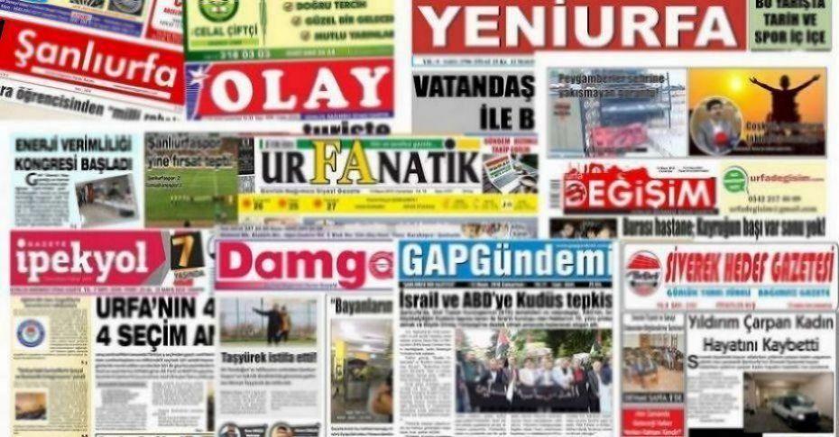 18 Eylül Şanlıurfa Gazete Manşetleri - 2018