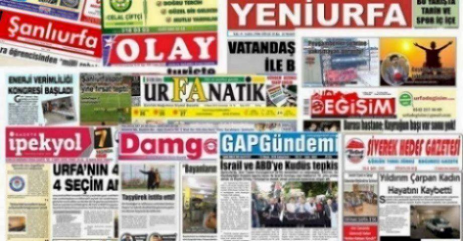 26 Eylül Şanlıurfa Gazete Manşetleri - 2018