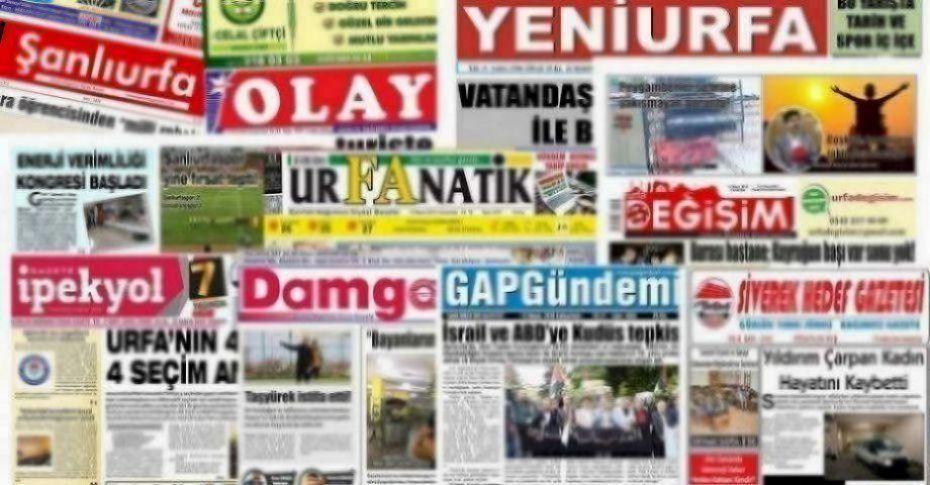 30 Temmuz Şanlıurfa Gazete Manşetleri