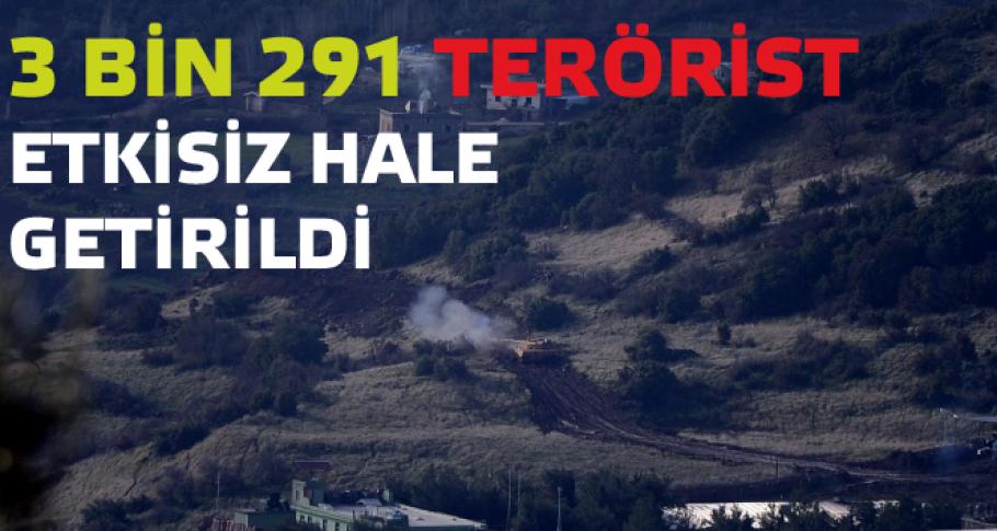 3 bin 291 terörist etkisiz hâle getirildi