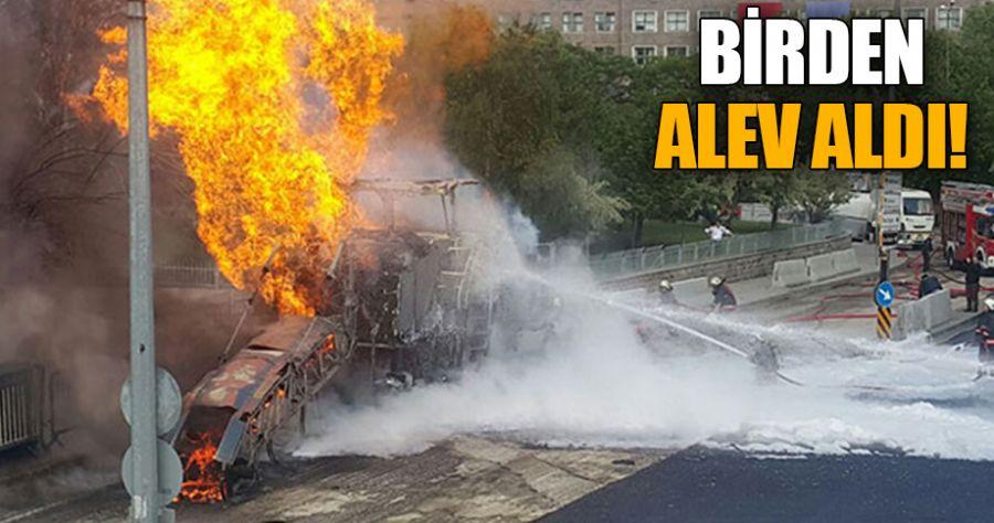 Adliye önünde korkutan yangın