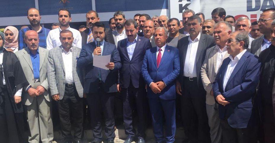 AK Parti Şanlıurfa İl Başkanlığı önünde ABD-İsrail protestosu