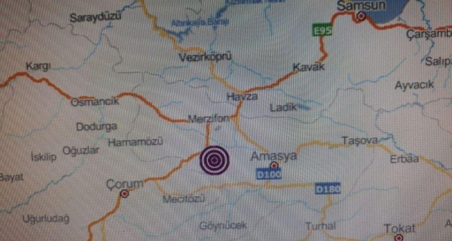 Amasya'da 3.2 büyüklüğünde deprem