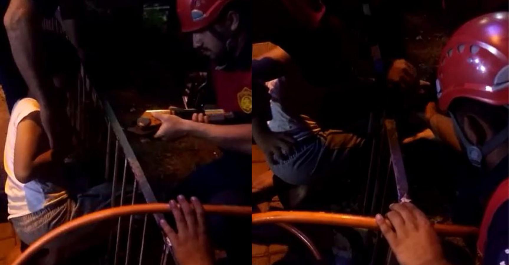 Ayağı demir korkuluğa sıkışan çocuğu itfaiye kurtardı!