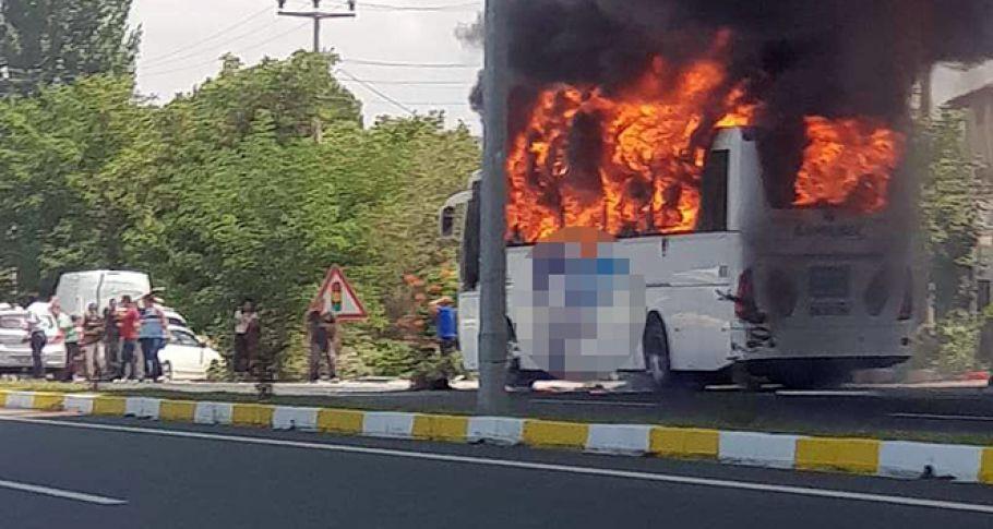 Balıkesir'de yolcu otobüsü alev aldı! 5 ölü