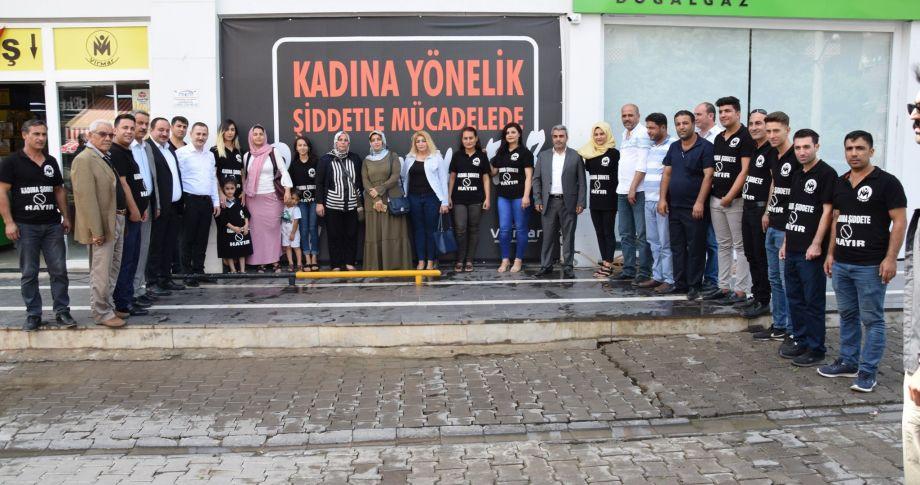 """Başkan Ekinci'den """" Kadına Yönelik Şiddetle Mücadelede Bizde Varız"""" Kampanyasına Destek Ziyareti"""