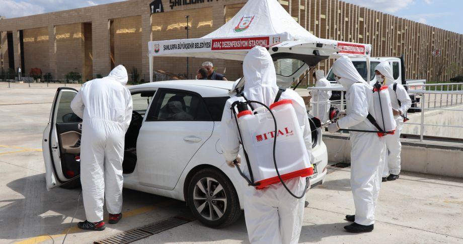 Büyükşehir, ikinci araç dezenfekte istasyonunu kurdu (videolu)
