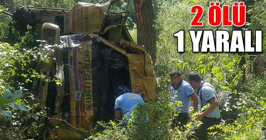Çöp kamyonu 70 metreden yuvarlandı!