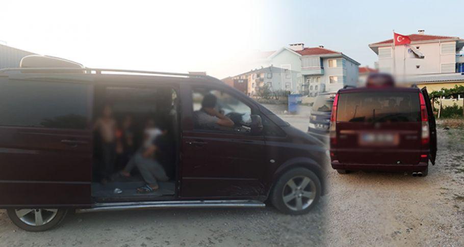 Dilenciler lüks araçta yakalandı