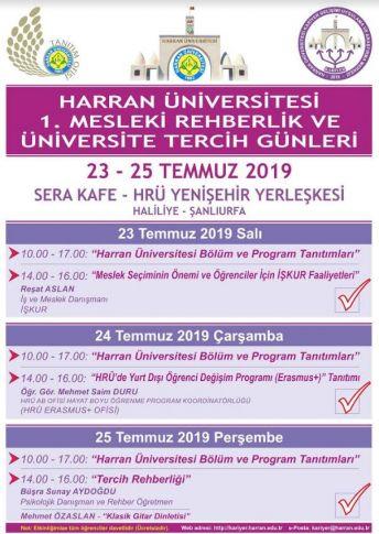 Harran Üniversitesi'nde Rehberlik ve Tercih Günleri Başlıyor