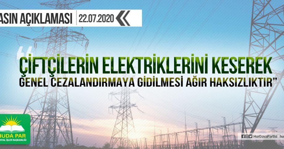 HÜDA PAR: Elektrikleri keserek genel cezalandırmaya gidilmesi ağır haksızlıktır
