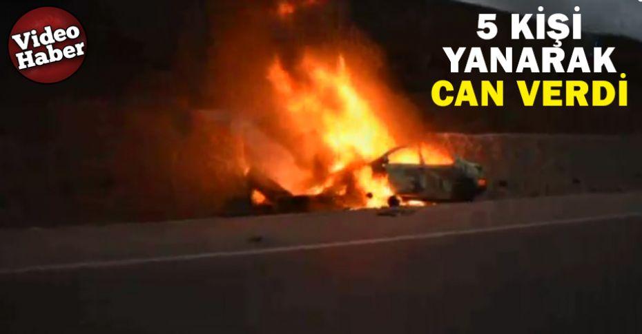 İstinat duvarına çarpan otomobil alev alev yandı!