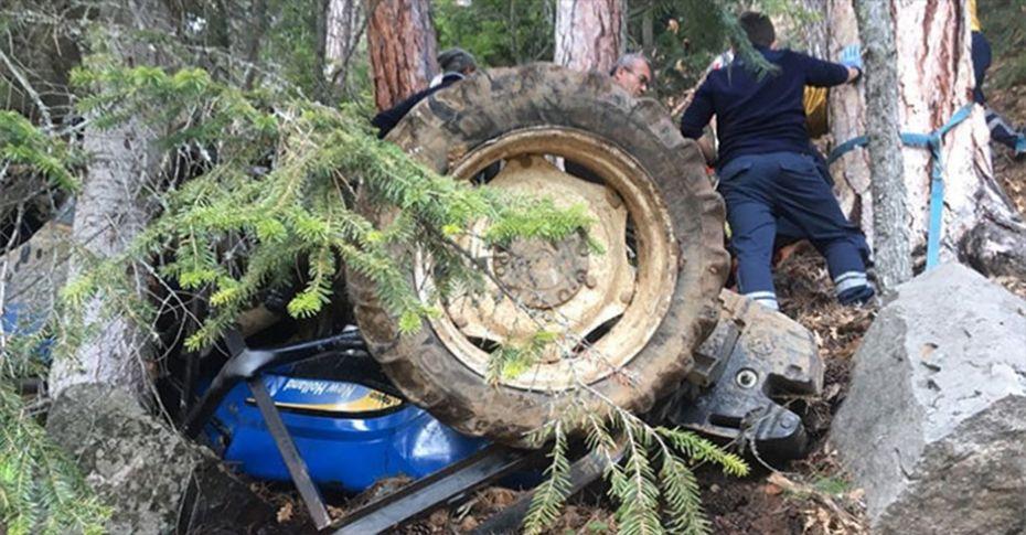 Karabük'te traktör şarampole yuvarlandı: 2 yaralı