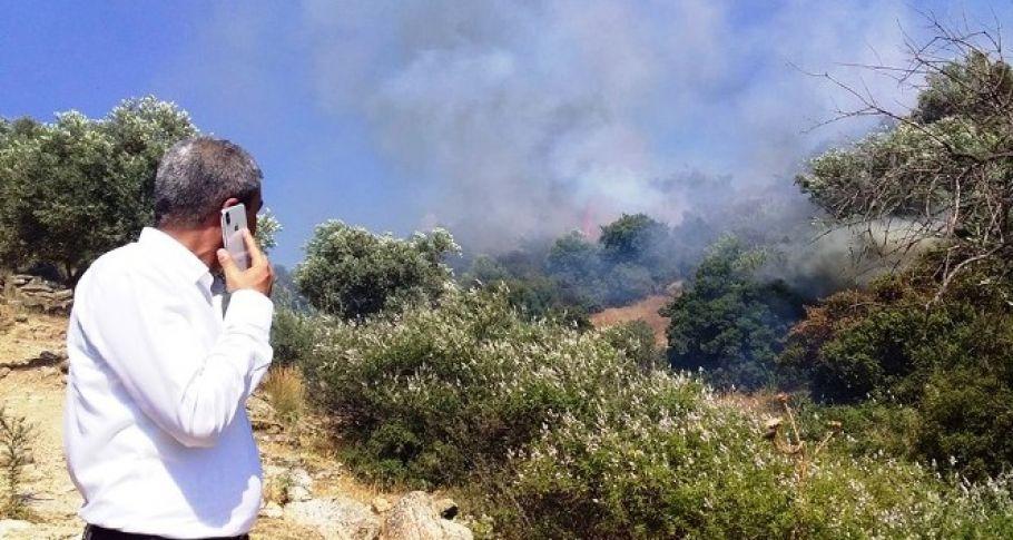 Koçarlı'da arazi yangını