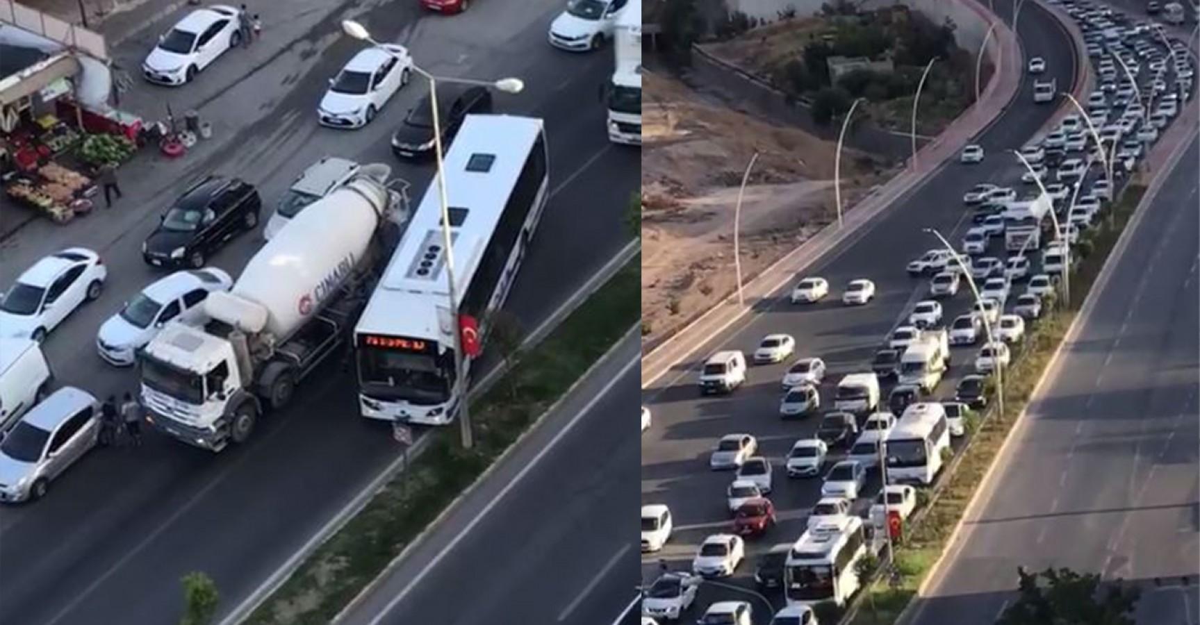 Mikser arızası Urfa'da trafiği felç etti!