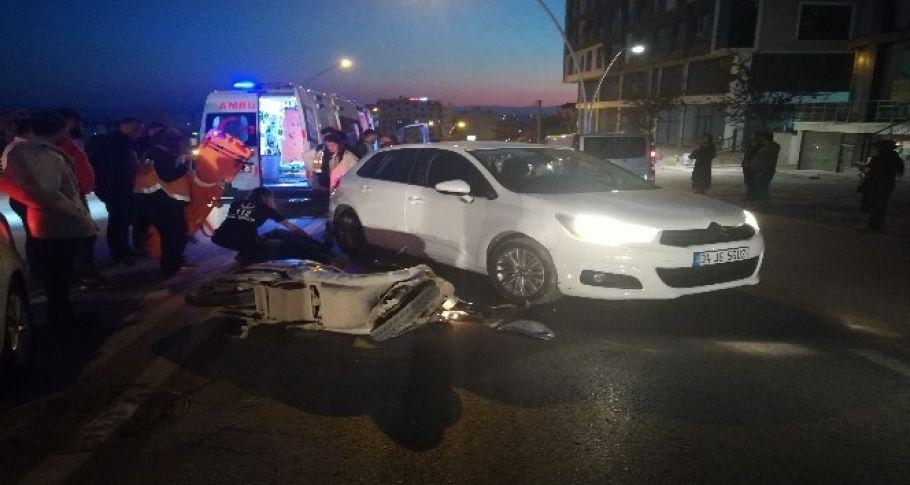 Otomobille çarpışan bisikletin sürücüsü yaralandı