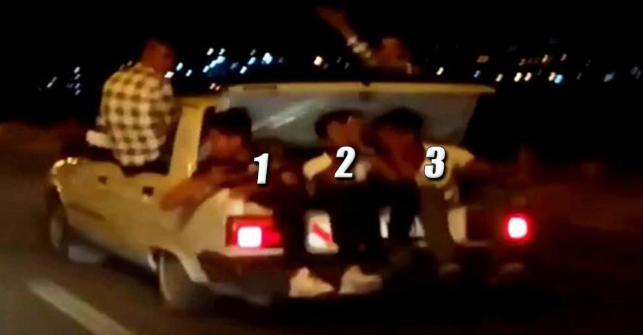 Otomobille sığmayan gençler çareyi bagajda buldu