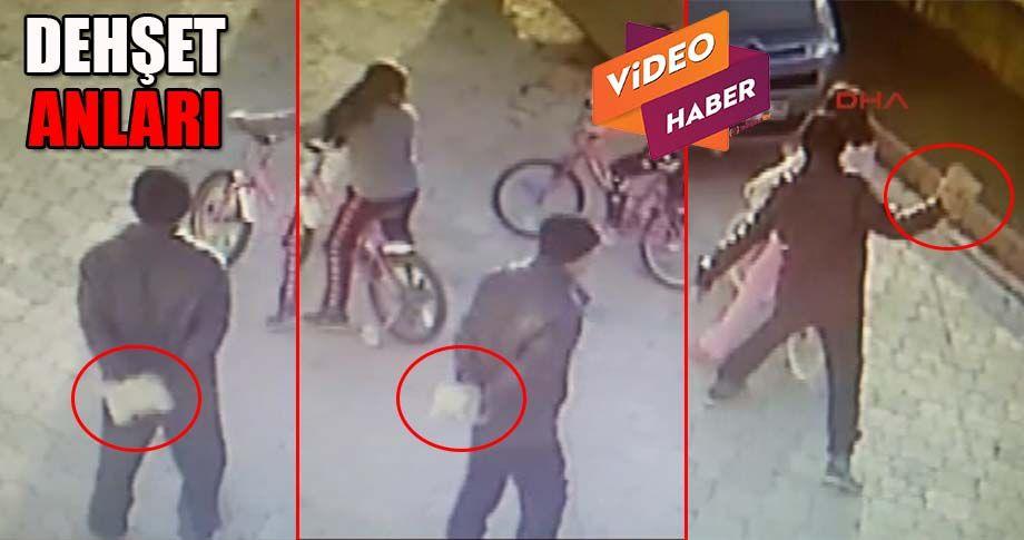 Parkta oynayan küçük kızın başına parke taşıyla vurdu