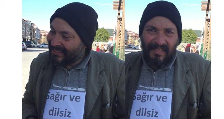 Sağır ve dilsiz dilencinin dili zabıtayı görünce açıldı (Videolu)