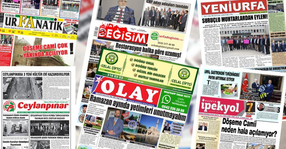 11 Mayıs Şanlıurfa Gazete Manşetleri