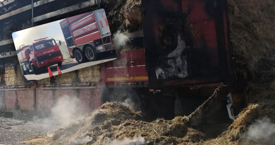 Şanlıurfa'da saman yüklü kamyon alev aldı!