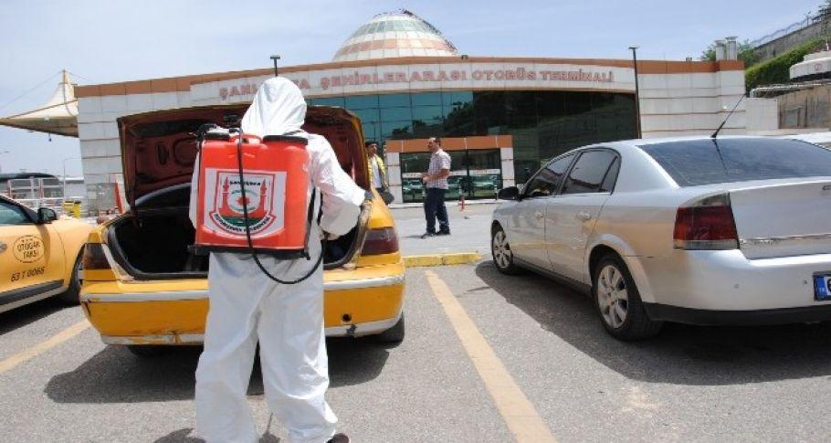 Şanlıurfa'da ticari taksiler dezenfekte edildi