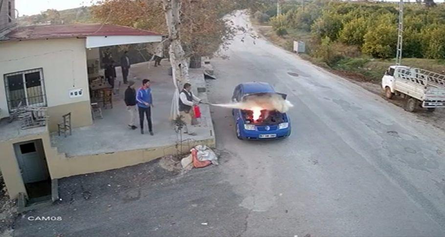 Seyir Halindeki LPG'li Otomobilde Yangın