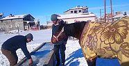 Yalaktaki Buzu Kırıp Atına Su İçirdi