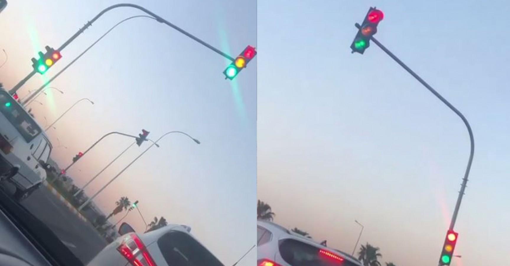 Urfa'da sürücüleri şaşkına çeviren trafik ışığı!