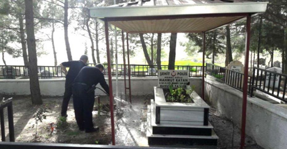 Viranşehir'de şehit düşen polis memurunun mezarında bakım çalışması