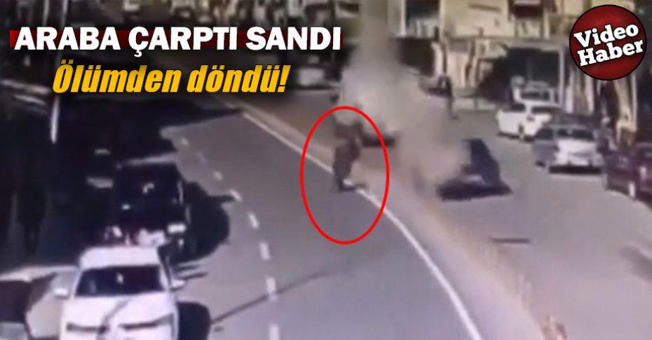 Yolun karşısına geçmeye çalışırken önüne roket düştü!