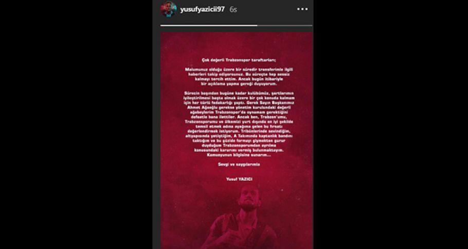 Yusuf Yazıcı'dan Trabzonspor'a veda mesajı