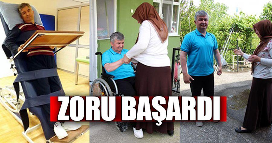 Zonguldak'ta felçli olan Volkan Gültekin zoru başardı
